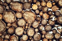 Woodpile in sneeuw Stock Fotografie