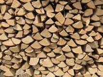 Woodpile. Stacked woodpile outdoors in the sunlight stock photography