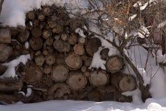Woodpile Z śniegiem W zimie fotografia stock