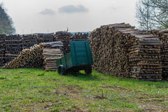 Woodpiles. Lots of fire wood piled up Stock Photos