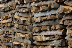 Woodpiles. Lots of fire wood piled up Stock Photo