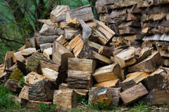 Woodpiles. Lots of fire wood piled up Royalty Free Stock Image