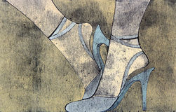 Woodprint der Fahrwerkbeine der Frau, die Sandelholze tragen. Lizenzfreie Stockfotos