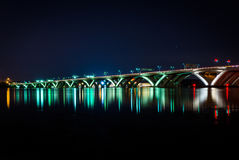 The Woodrow Wilson Bridge at night, in Alexandria, Virginia. Royalty Free Stock Image