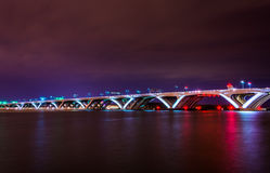 The Woodrow Wilson Bridge at night, seen from Alexandria, Virgin Royalty Free Stock Photos