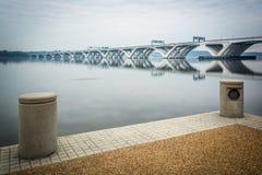 The Woodrow Wilson Bridge and Potomac River, seen from Alexandri Stock Photos