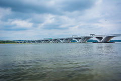 The Woodrow Wilson Bridge and Potomac River seen from Alexandria Stock Image
