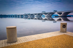 The Woodrow Wilson Bridge, seen from the Potomac River waterfron Stock Images