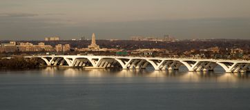 Woodrow Wilson Bridge in sunlight. Completed in 2008 between Alexandria and Maryland and crossing Washington DC this new drawbridge over the Potomac River is one Royalty Free Stock Photography