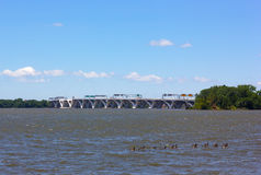 Woodrow Wilson Memorial Bridge across Potomac River photographed from the National Harbor, Maryland, USA. Royalty Free Stock Images