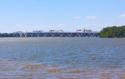 Woodrow Wilson Memorial Bridge photographed from the National Harbor. Royalty Free Stock Image