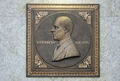 Woodrow Wilson Plaque. Embossed Bronze Plaque of President Woodrow Wilson Profile royalty free stock image