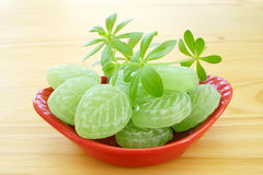 Woodruff and Candies in porcelain dish Royalty Free Stock Photo