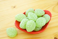 Woodruff Candies in porcelain dish Stock Photos