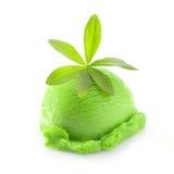 Woodruff Icecream. Icecream with woodruff flavor. Isolated on white background Stock Photo