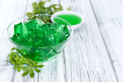 Woodruff Jello. Portion of homemade Woodruff Jello (on a bright background Stock Photos