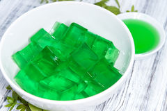 Woodruff Jello. Portion of homemade Woodruff Jello (on a bright background Stock Photography