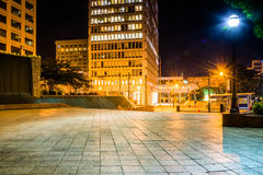 Woodruff Park and buildings at night in downtown Atlanta, Georgi Stock Images