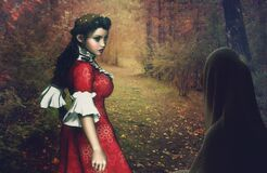 Woods, Autumn, Woman, Girl, Meeting Royalty Free Stock Photos
