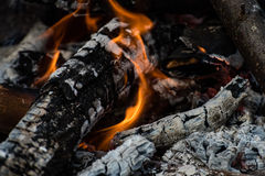 woods are burning in fireplace, warm, heat, fire Stock Images