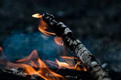 woods are burning in fireplace, warm, heat, fire Stock Photography