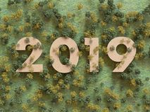 2019 in the woods, 3D rendering royalty free stock photos