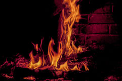 Woods in fire. Log is burning in fireplace Stock Photography