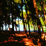 Woods Near The Sea. Digital painting of woods near the sea stock illustration