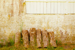 Woods slices and wall. Woods slices and wall of hause with windows.Abstrait.Life stile. Countryside royalty free stock photo