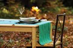 Woods table. Luxury table and dishware on woods Royalty Free Stock Photography