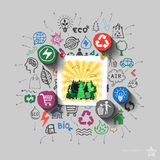 Woods view. Environment collage with icons background Stock Photography