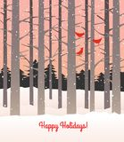 Woods in winter with falling snow and cardinals. Stock Photo
