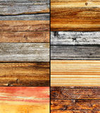 Woods. Wood collage, different colors and texture, nature background Royalty Free Stock Images