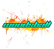 Woodsball - is a format of paintball gaming, icon, colorful banner Stock Photography