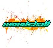 Woodsball - ist ein Format des Paintballspiels, Ikone, bunte Fahne Stockfotografie