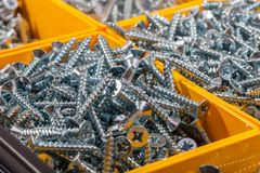 Woodscrews. Pile of wood screws sorted in yellow box storage con. Woodscrews. Pile of cross head wood screws sorted in yellow box storage container. Assortment Stock Photography