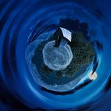 Woodshed on little planet spherical panorama. At night in full moon light. beautiful countryside concept with 360 degree view. abandoned building on a meadow Stock Illustration