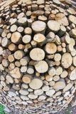 Woodshed with logs cut aligned for heating during Royalty Free Stock Photography