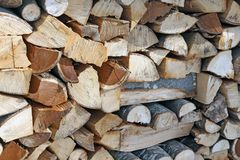 Woodshed with pieces of wood cut Stock Images