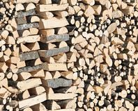 Woodshed with pieces of wood cut for the stove Royalty Free Stock Photo