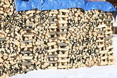 WOODSHED with pieces of wood piled up for the winter and snow Royalty Free Stock Images