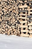Woodshed with pieces of wood piled for winter Royalty Free Stock Photo