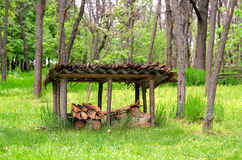 Woodshed With Some Firewood in the Forest Stock Images