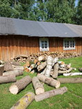 Woodshed and woodyard, Hola, Poland Stock Photo