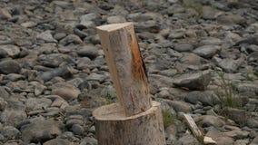 Woodsheds и швырок прерывать, древесина lumberjack разделяя с старой осью движение медленное видеоматериал