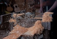 Woodshop planer Stock Photo