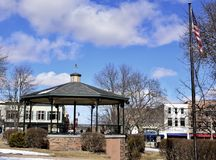 Woodstock Bandstand. This is a Winter picture of the iconic Woodstock Bandstand located in the town square of Woodstock, Illinois in McHenry County.  This Stock Photography