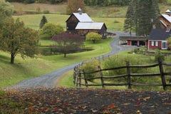 Woodstock barn in Vermont during autumn. Autumn shines through in a rural Vermont scene Stock Photo