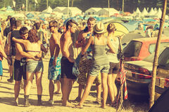Woodstock Festival, biggest summer open air ticket free rock music festival in Europe, Poland. KOSTRZYN NAD ODRA, POLAND - AUGUST 2, 2013: 19th Przystanek Royalty Free Stock Photos
