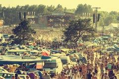 Woodstock-Festival, größtes freies Rockmusikfestival des Sommerfreilichtflugtickets in Europa, Polen stockbild